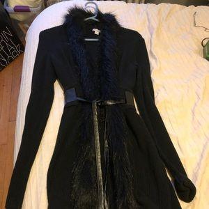 Long black, furry sweater
